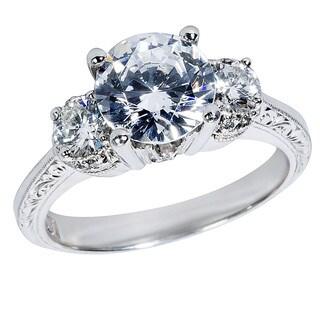 Tacori Platinum 1/2ct TDW Diamond and Cubic Zirconia Center Engagement Ring (G-H, VS1-VS2)