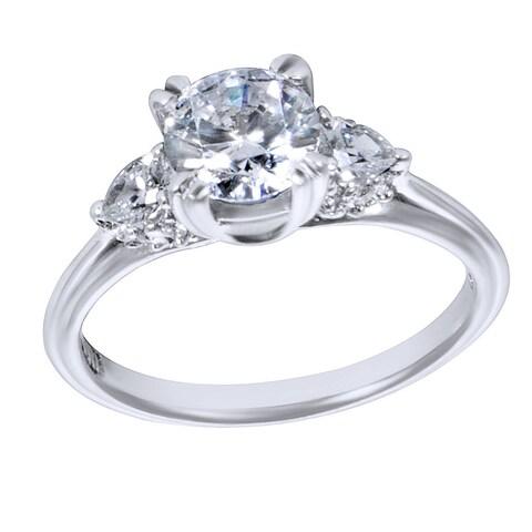 Tacori Platinum 1/3ct TDW Diamond and Cubic Zirconia 3-Stone Engagement Ring