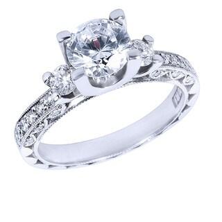 Tacori Platinum 3/8ct TDW Diamond and Cubic Zirconia Main Stone Engagement Ring (G-H, VS1-VS2)