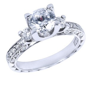 Tacori Platinum 3/8ct TDW Diamond and Cubic Zirconia Main Stone Engagement Ring