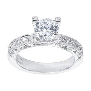 Tacori Platinum 3/8ct TDW Diamond and Cubic Zirconia Engagement Ring (G-H, VS1-VS2)