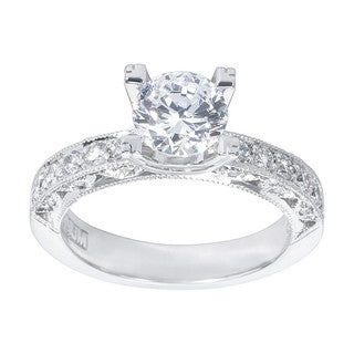 Tacori Platinum 3/8ct TDW Diamond and Cubic Zirconia Engagement Ring