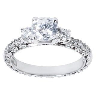 Tacori Platinum 1/2ct TDW Diamond and Cubic Zirconia Center Engagement Ring