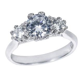 Tacori Platinum 1/2ct TDW Diamond and Cubic Zirconia Center 3-Stone Engagement Ring (G-H, VS1-VS2)