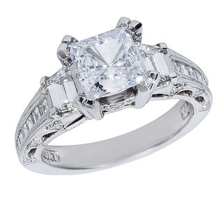 Tacori Platinum 1ct TDW Diamond and Cubic Zirconia Center Engagement Ring