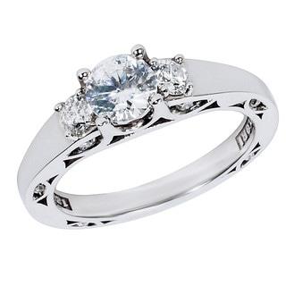 Tacori 18k White Gold 1/3ct TDW Diamond and Cubic Zirconia Center Engagement Ring (G-H, VS1-VS2)