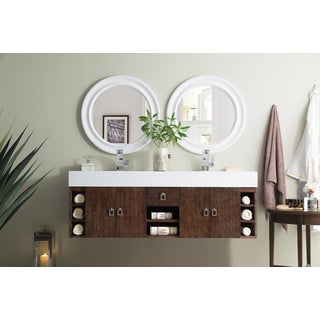 Tiburon 59-inch Bright White Top Coffee Oak Floating Double Vanity