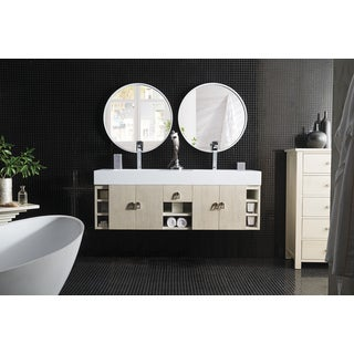 Tiburon 59-inch Bright White Top Vanilla Oak Double Vanity