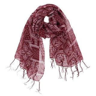 LA77 Women's Bohemian Polyester Beaded Tassel Scarf