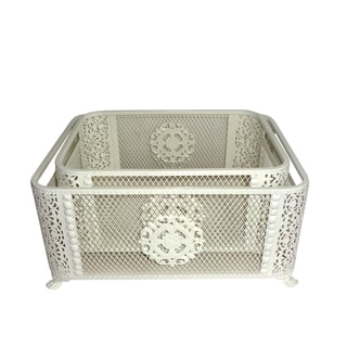 Jeco Ornate Cream Basket (Set of 2)