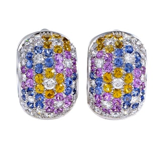 Pasquale Bruni 18k White Gold 2 1/4ct TDW White Diamond and Sapphire Floral Earrings (F-G, SI1-SI2)