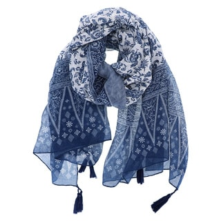 LA77 Women's Detailed Paisley Print Polyester Oblong Scarf with Tassels