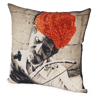 Multicolored Cotton Rajasthani Musician Partially Embroidered Throw Pillow