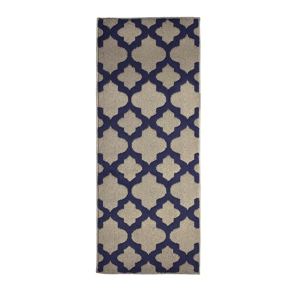 Jean Pierre All Loop Alessandra Linen/Navy Decorative Textured Accent Rug - (24 x 60 in.)