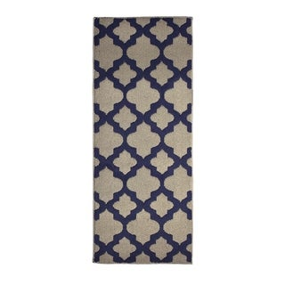 Jean Pierre All Loop Alessandra Linen/Navy Decorative Textured Accent Rug - (24 x 60 in.)