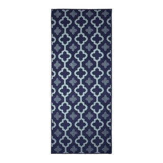 Jean Pierre All Loop Yapi Navy/Mineral BlueDecorative Textured Accent Rug - (24 x 60 in.)