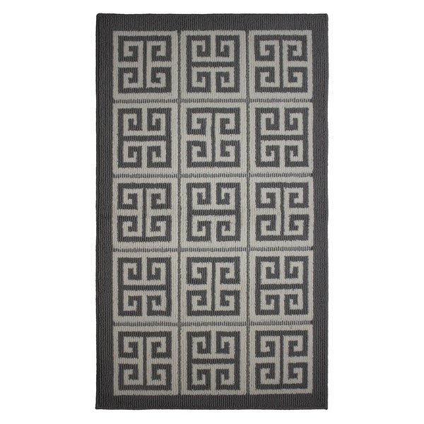 Jean Pierre All Loop Novea Greek Key Grey/Soft White Decorative Textured Accent Rug - (28 x 48 in.)