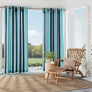 Parasol Coco Bay Indoor/Outdoor Nautical Stripe Print Curtain Panel