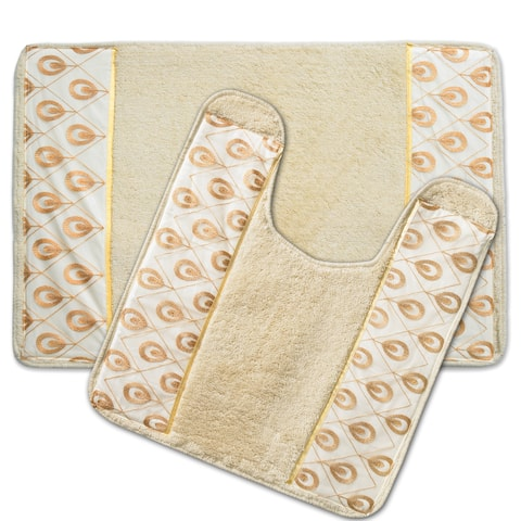 Seraphina Beige and Gold Bath and Contour Rug Set or Separates