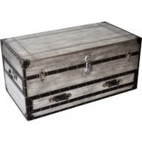 Aeroway Rectangular Silver Wood Shabby Chic Trunk Cocktail Table with Casters
