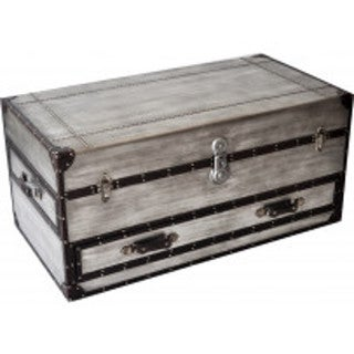 Gentil Aeroway Rectangular Silver Wood Shabby Chic Trunk Cocktail Table With  Casters