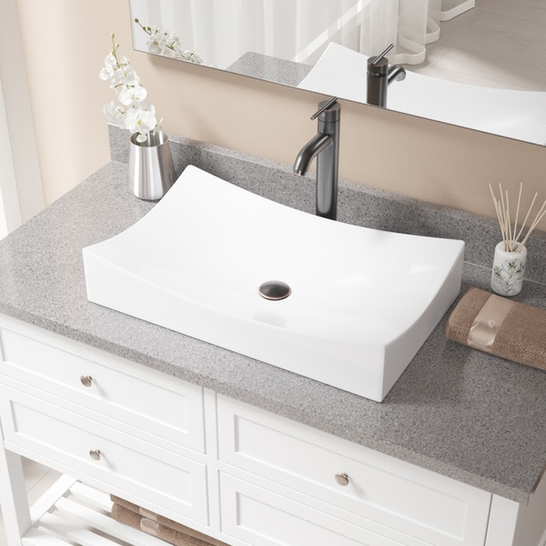 V330-White Porcelain Sink with Faucet and Pop-up Drain in Antique Bronze