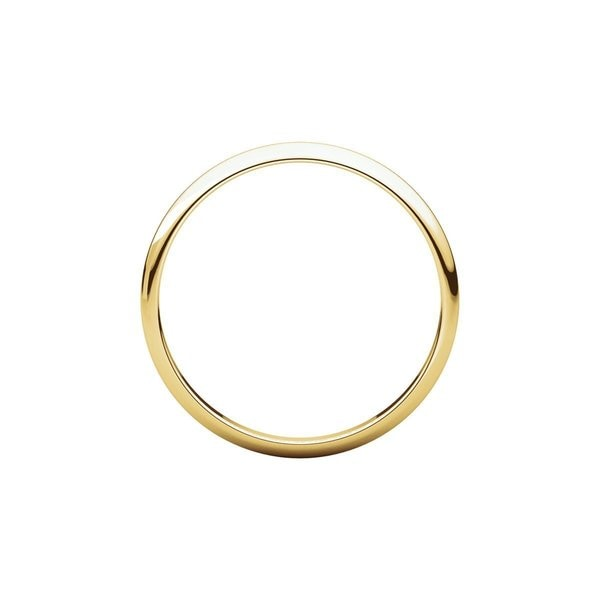 Mens 14K Yellow Gold 2.5mm Light Half Round Wedding Band Ring