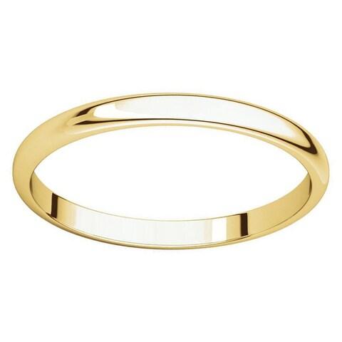 10k Yellow Gold 2 mm Half-Round Light Wedding Band