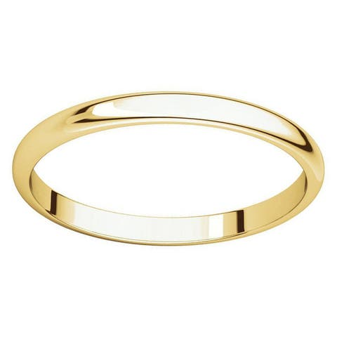 10k Yellow Gold 2 mm Half-Round Light Wedding Band
