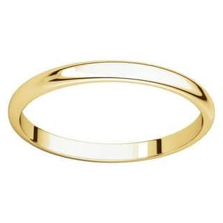 10k yellow gold 2 mm half round light wedding band - Rings Wedding