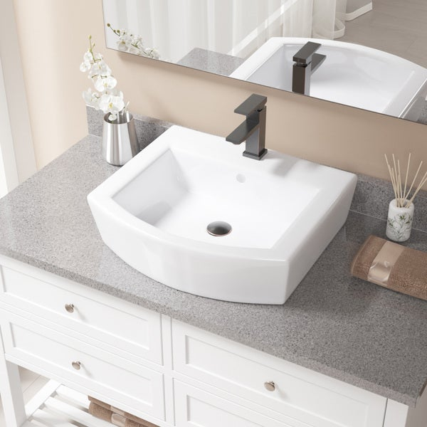 Captivating MR Direct V300 White Porcelain Sink With Antique Bronze Faucet And Pop Up  Drain