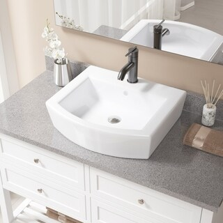 MR Direct V300-White Porcelain Sink With Antique Bronze Faucet and Pop-Up Drain