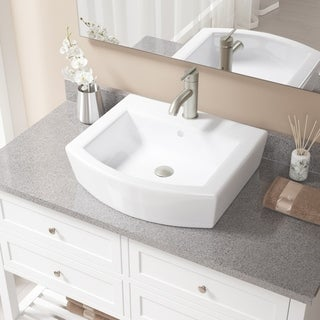 MR Direct V300 White Porcelain Brushed-nickel Faucet and Pop-up Drain Sink