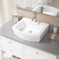 V300 White Porcelain Brushed-nickel Faucet and Pop-up Drain Sink