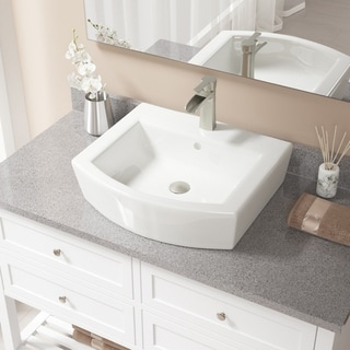 MR Direct V300 Bisque Porcelain Sink with Brushed Nickel Faucet and Pop-up Drain