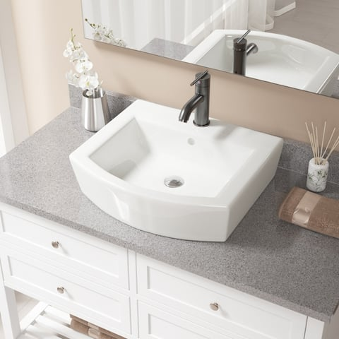 V300 Bisque Porcelain Sink with Antique Bronze Faucet and Popup Drain