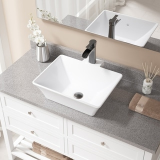 MR Direct V290 White Porcelain and Antique Bronze Pop-up Drain Sink and Faucet Set