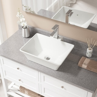 MR Direct Bisque Porcelain Sink with Chrome Faucet and Pop-up Drain