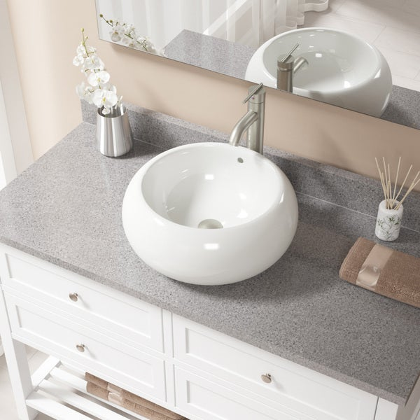 Shop Bisque Porcelain Sink With Brushed Nickel Faucet And