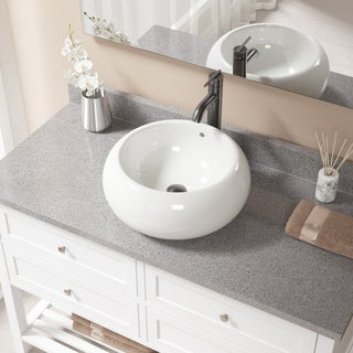 MR Direct Bisque Porcelain Sink with Antique Bronze Faucet and Pop-up Drain