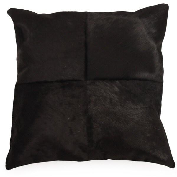 OX Black Cowhide Throw Pillow