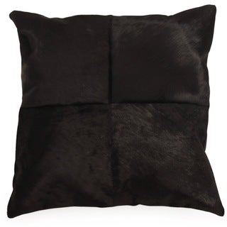 OX Black Cowhide Throw Pillow