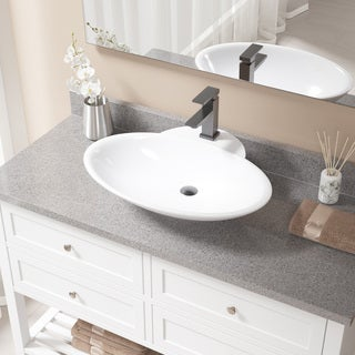 MR Direct V2602 White Porcelain Sink with Antique Bronze Faucet and Pop-up Drain