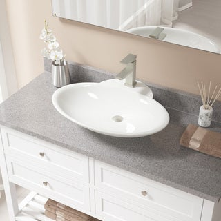 V2602 Bisque Porcelain and Brushed Nickel Pop-up Drain Sink and Faucet Set - White