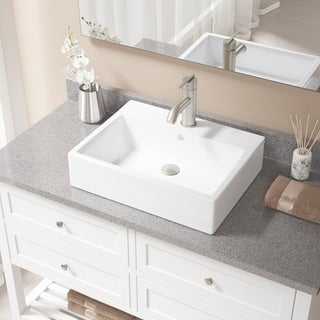 MR Direct V2502 White Porcelain Sink with Brushed Nickel Faucet and Popup Drain