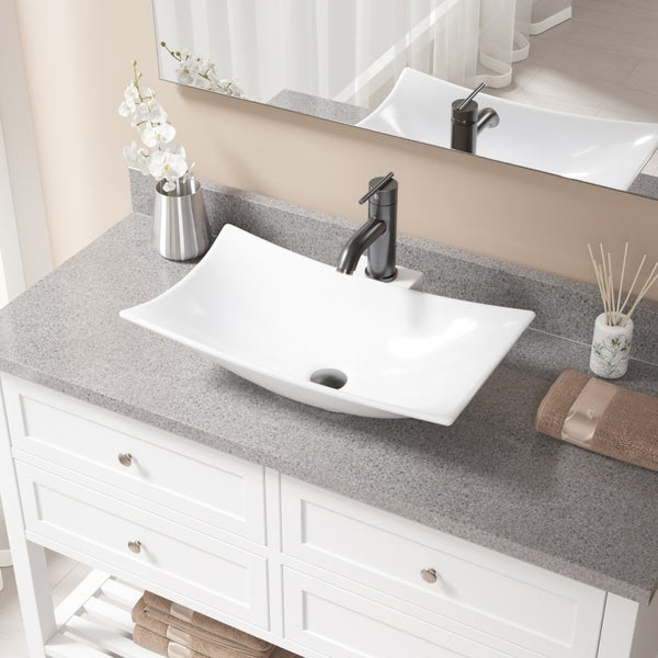 V240 White Porcelain Sink With Antique Bronze Faucet And Pop Up Drain