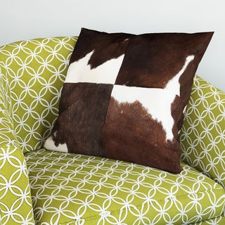 Vache Brown Cotton/Leather Cow Hide Pillow