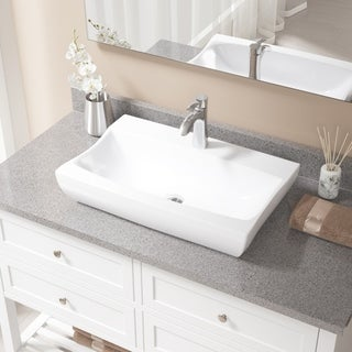 MR Direct V2302-White Porcelain Sink with Chrome Faucet