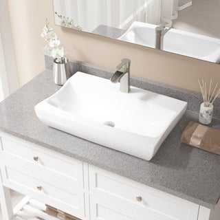 V2302-White Porcelain Sink with Faucet and Pop-up Drain in Brushed Nickel
