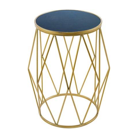 Bailey Modern Blue Marble Goldtone Side Table